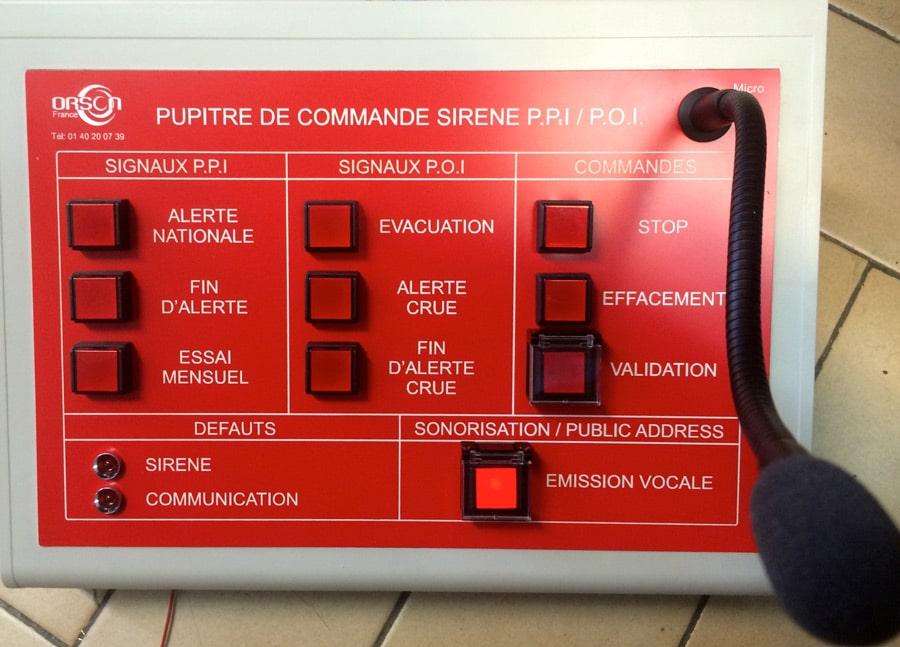Type de déclenchement Système Public Adress. Pupitre de commande Sirène P.O.I.